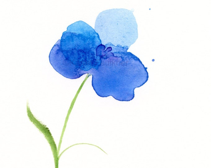 """Original watercolor painting of a blue flower: """"Water Orchid"""""""