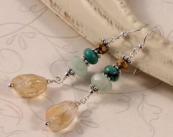 Long Dangle Gemstone Earrings - Citrine, Amazonite, Turquoise - Sterling Silver - Natural Earthy Stone - Summer Yellow Blue Aqua EGAL