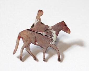 Enamel Horse and Rider with Heart Brooch pin - OOAK - Vitreous enamel Lapel Pin