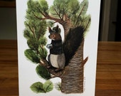 Blank Greeting Cards - 6 card set of Siberian Squirrel with Tea