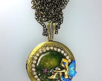 Fairy Locket Necklace, Woodland Locket Necklace, Fantasy Locket Necklace, Forest Locket Necklace, Fairy Locket Jewelry, Blue Magical Fairy