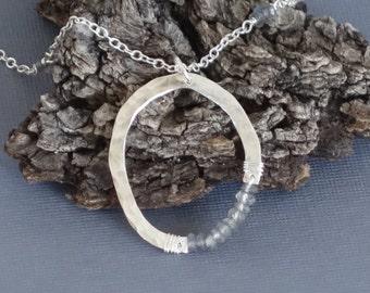 Labradorite Necklace, Labradorite Pendant, Long Necklace