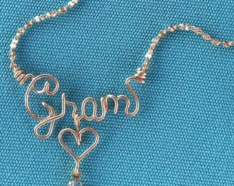 Personalized Gold Wire Name Necklace/Anklet~Any Name~Heart, Cross, Star, Flower or Peace Sign w/Swarovski Birthstone~Perfect Handmade Gift