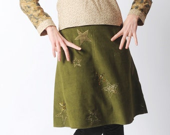 Olive green Aline skirt, Green corduroy skirt with appliqued stars, Your size