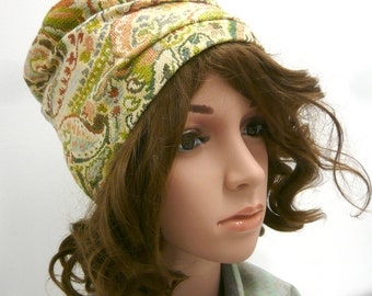 Pleated womens hat, Yellow and green hat, Fun women hat, Womens accessories, Floral patterned hat