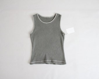 gray waffle cotton tank   vintage sportswear