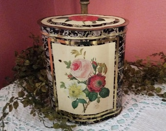 Beautiful Floral Shabby Cottage Chic ENGLISH TIN Container Storage
