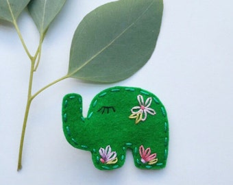 Elephant Wool Felt Hair Clip
