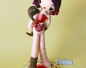 Print: Anatomical Female C with Ectoplasm  - doll anatomy specimen beige needle felted felt art plush toy photograph