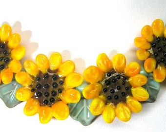 Sunflowers  30mm flower lampwork glass beads,lampwork glass beads,lampwork beads SRA set of 9 made by pearly karpel MTO, jewelry supply
