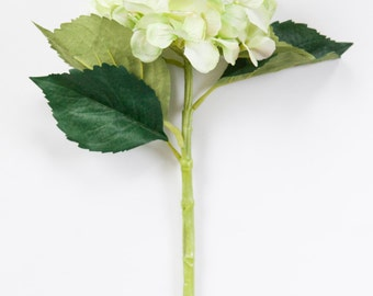 Creamy Lime Hydrangea Head on 19 Inch Stem - Silk Artificial Flowers - ITEM 0928