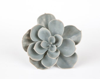 Faux Succulent: Large Artificial Succulent Echeveria in Gray - Fake Succulent - artificial succulents - ITEM 0411