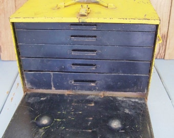 Free Shipping Vintage Industrial  Machinist Tool Box with drawers great for studio or workshop Very Heavy