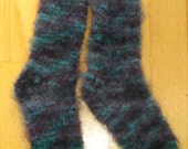 Hand Knitted Mohair Socks - Unisex - Long, Fluffy, Warm - Rich Deep Colors - FREE USA Shipping