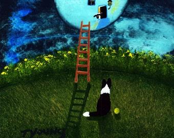 Border Collie Dog Folk Art Print of Todd Young painting Knock Knock