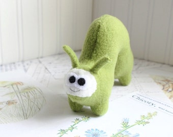 Handmade Plush Inchworm Stuffed Animal in Sage Green Kawaii Fleece Bug Stuffed Caterpillar