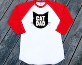 Cat Dad Red Raglan Sleeve Baseball Style TShirt with Black print - Family Photos, Father's Day, Gift for Him, Crazy Cat Dude, Guy
