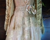 Blush lace dress  tulle embroidery boho wedding  vintage  bride outdoor  romantic small by vintage opulence on Etsy