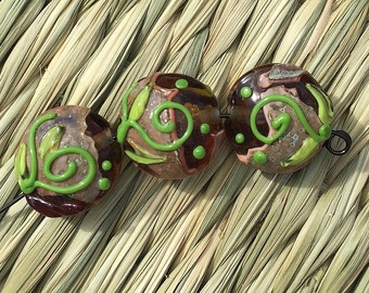 Handmade Lampwork Glass Bead Set Sophisticated pumpkin Pressed lentil Fall Autumn Artisan bead Handmade Bead SRA Generationslampwork