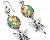 Peter Pan Earrings with Crystals, Tinkerbell Peter Pan Jewelry, Vintage Images Glass Drop Earrings