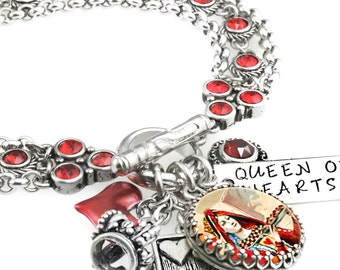 "Queen of Hearts Jewelry, Charm Bracelet, Queen of Hearts, Queen Jewelry, Heart Bracelet, ""The Queen of Hearts"""