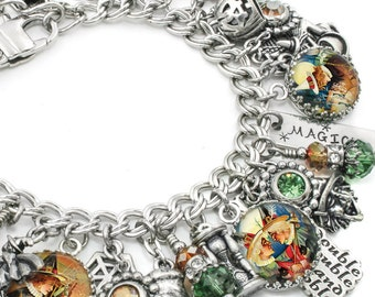 Wiccan Charm Bracelet, Silver Celtic Jewelry, Wiccan Jewelry, Halloween Witch Jewelry, Halloween Charm Bracelet