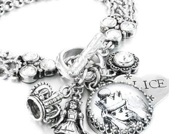 Alice in Wonderland, Alice Bracelet, Fairytale Jewelry, Queen Alice, Alice in Wonderland Charms