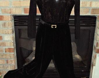 One Piece Jumpsuit Black Velvet Palazzo Pants Sheer Mesh Top Sequins Size 8 Rhinestone Belt Vintage 1980s