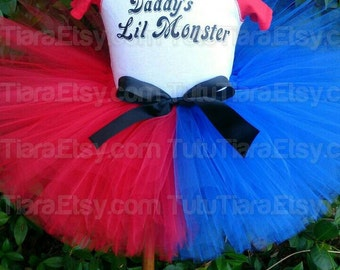 "SALE Girls Halloween Costume Tutu Harley Quinn Suicide Squad Tutu Red and Blue 8"" Extra Full Tutu Skirt for Girls - Tutu Only"