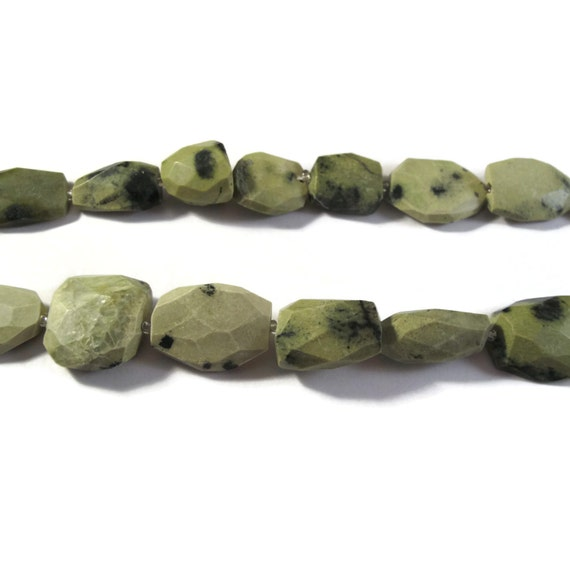 Green Jasper Beads, Mexican Green Jasper Nugget Beads, One Strand of Chunky Gemstones for Making Jewelry, 14 Inch Strand (S-Ja2)