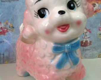 VERY RARE Vintage Pink Baby Lamb or Pink Poodle Puppy Dog Rubens Originals Collectible Planter