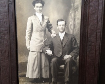 A Handsome Couple - Antique Photograph Post Card in Folder - Gift - Instant Ancestors or Display
