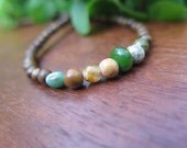 Kids Necklace - Age 4  5 6 7 8 - Earthy - Wood - Boho Boy - Hippie Kid - Gemstone - Stone - Crystal Jewelry - Unisex - Brown Green