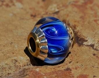 The Blue's -  Cored 'n Capped European Style Charm Bead - Dan~O Beads - SRA