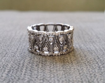 "Filigree Diamond Art Nouveau Wedding Band Wide Art Deco Engagement Ring Custom 3/4th Eternity Aniversary Band 14K White Gold "" The Eileen"""