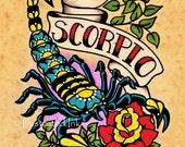 Old School Tattoo Zodiac Art SCORPIO Scorpion Astrology Print 5 x 7, 8 x 10 or 11 x 14