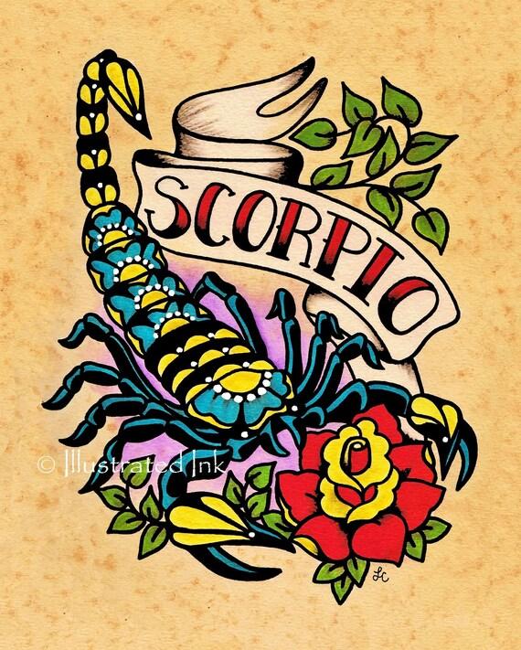 Zodiac Old School Tattoo Art SCORPIO Scorpion Astrology Print 5 X 7 8