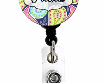 Retractable ID Badge Holder - Personalized Name - Bright Paisley - Choice of Badge Reel, Carabiner, Lanyard, Steth Tag