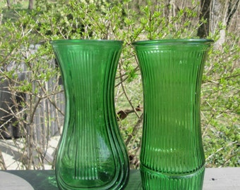 Large Vintage Green Glass Vase - Vintage/ Spring Wedding - Choice