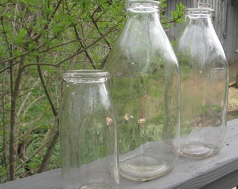 Three Vintage Milk Bottles - Barn Wedding Vases - Country Kitchen Decor
