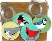 Songbird Fabric Coaster Set--Eastern Backyard Birds