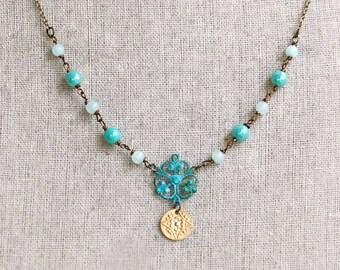 Bohemian gemstone blue beaded charm necklace. Tiedupmemories