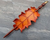 Flame Oak Leather Hair Slide - Coco Bolo Rosewood Spiral Hairstick with Quartz Crystal Topper