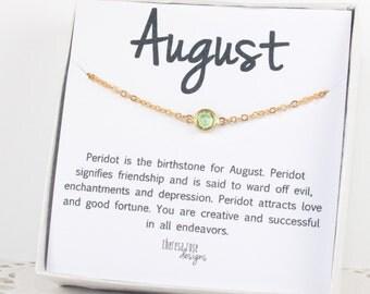August Birthstone Swarovski Necklace, Swarovski Gold Necklace, August Birthstone Gold Necklace, Peridot Gold Necklace, Birthstone Jewelry