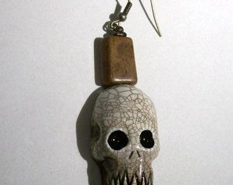 Rustic Voodoo Skull Zombie Head Earring