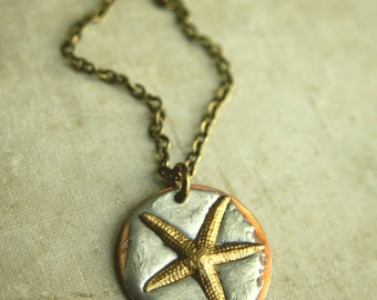 Starfish Necklace, Del Mar Pendant Necklace, Ocean, Soldered, Nautical Necklace