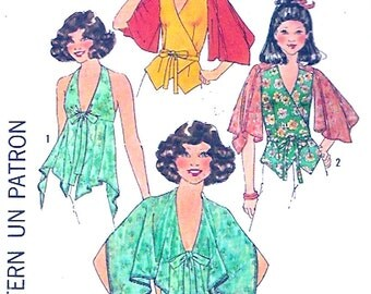 70s Halter top front wrap blouse Boho Hippie Hipster summer style vintage sewing pattern Simplicity 8029 Bust 32 to 34 Uncut