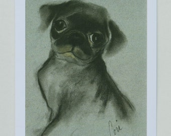 Black Pug Puppy Dog Art Note Cards By Cori Solomon