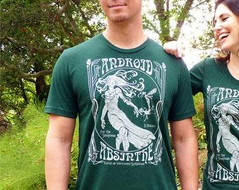 Android Absinthe T-shirt - Absinthe Shirt, Geek Liquor Label T-shirt, Robot Men's T-shirt - Speculative Spirits