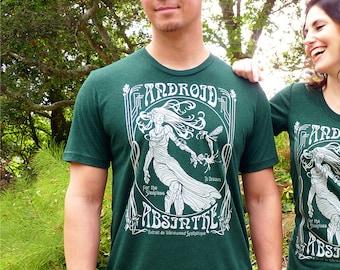 Android Absinthe T-shirt, Tech Gift, Absinthe Shirt, Geek Tshirt, Art Nouveau, Science Fiction Shirt, Mens Graphic Tee, Printed Tee